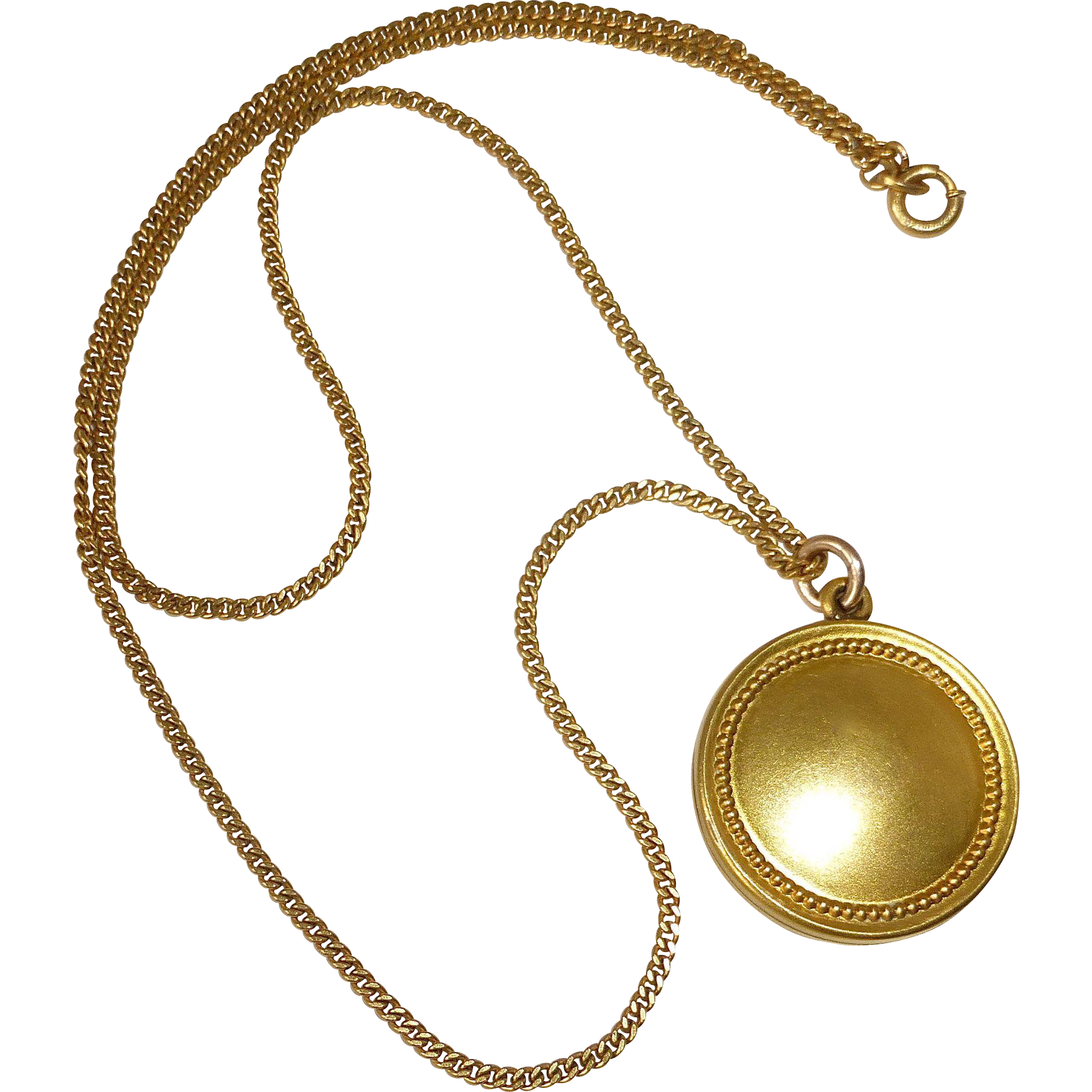 Victorian Gold Filled Locket w Beaded Edge & Chain