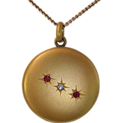 Antique Edwardian Gold Filled Locket w Paste Stones