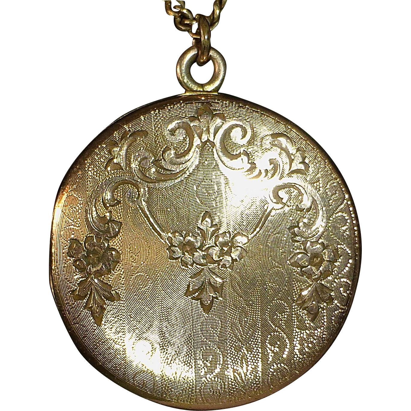 Rose Gold Shell Ornate Engraved Locket GF Chain
