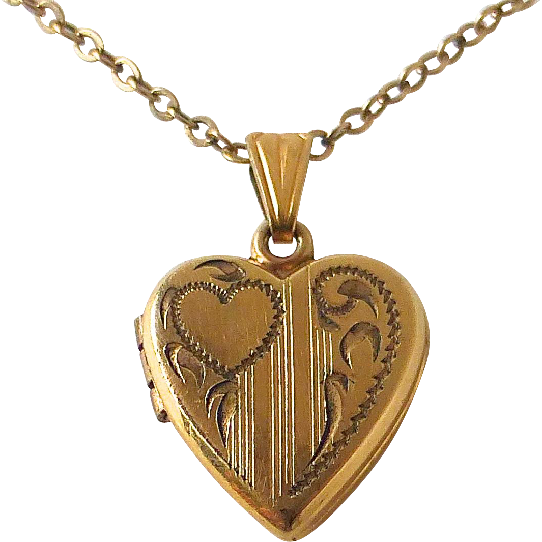 Gold Filled Heart Baby Locket & Chain c1950s