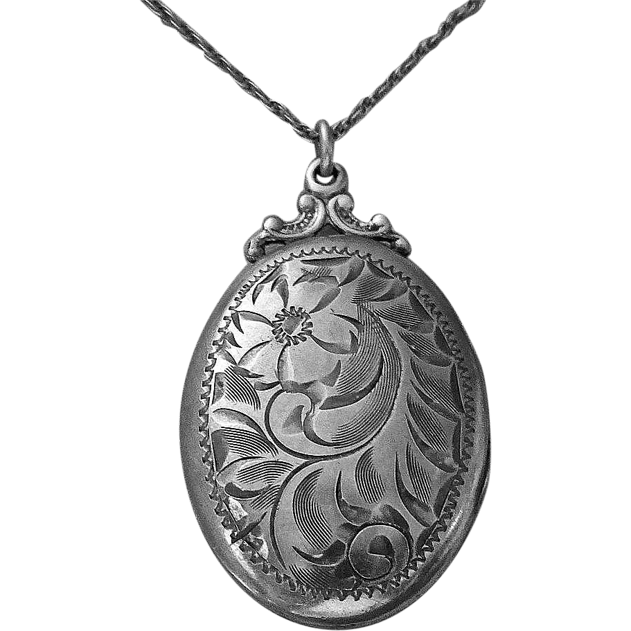 Birks Sterling Silver Engraved Oval Locket & Chain