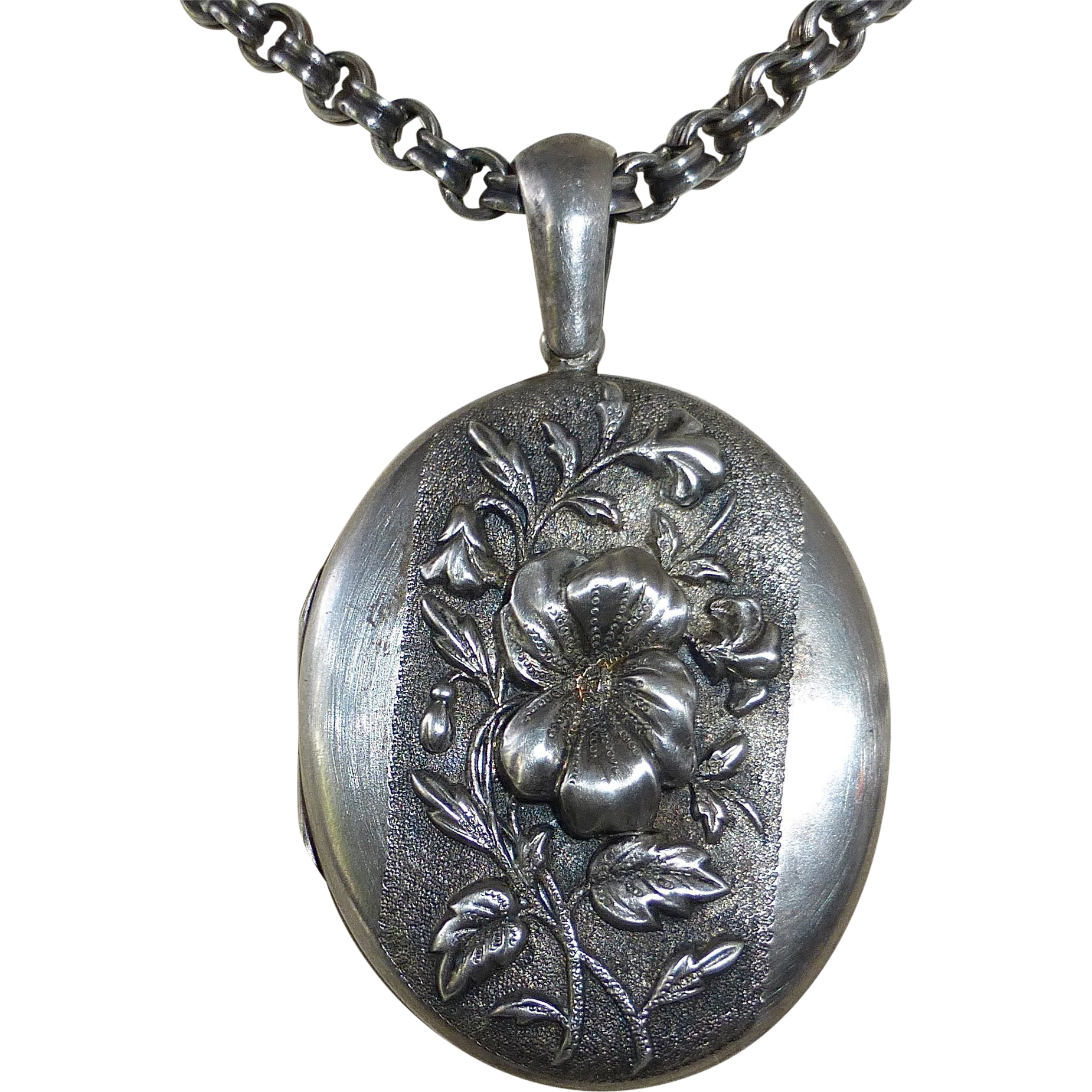 Antique Aesthetic Sterling Repousse Floral Locket & Chain