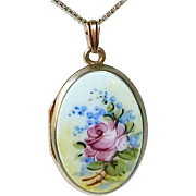 Bliss Brothers Sterling Shell Rose Enamel Locket