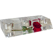 Reverse Carved Rose Lucite Lipstick Stand