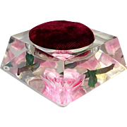 Reverse Carved Pink Rose Lucite Pin Display