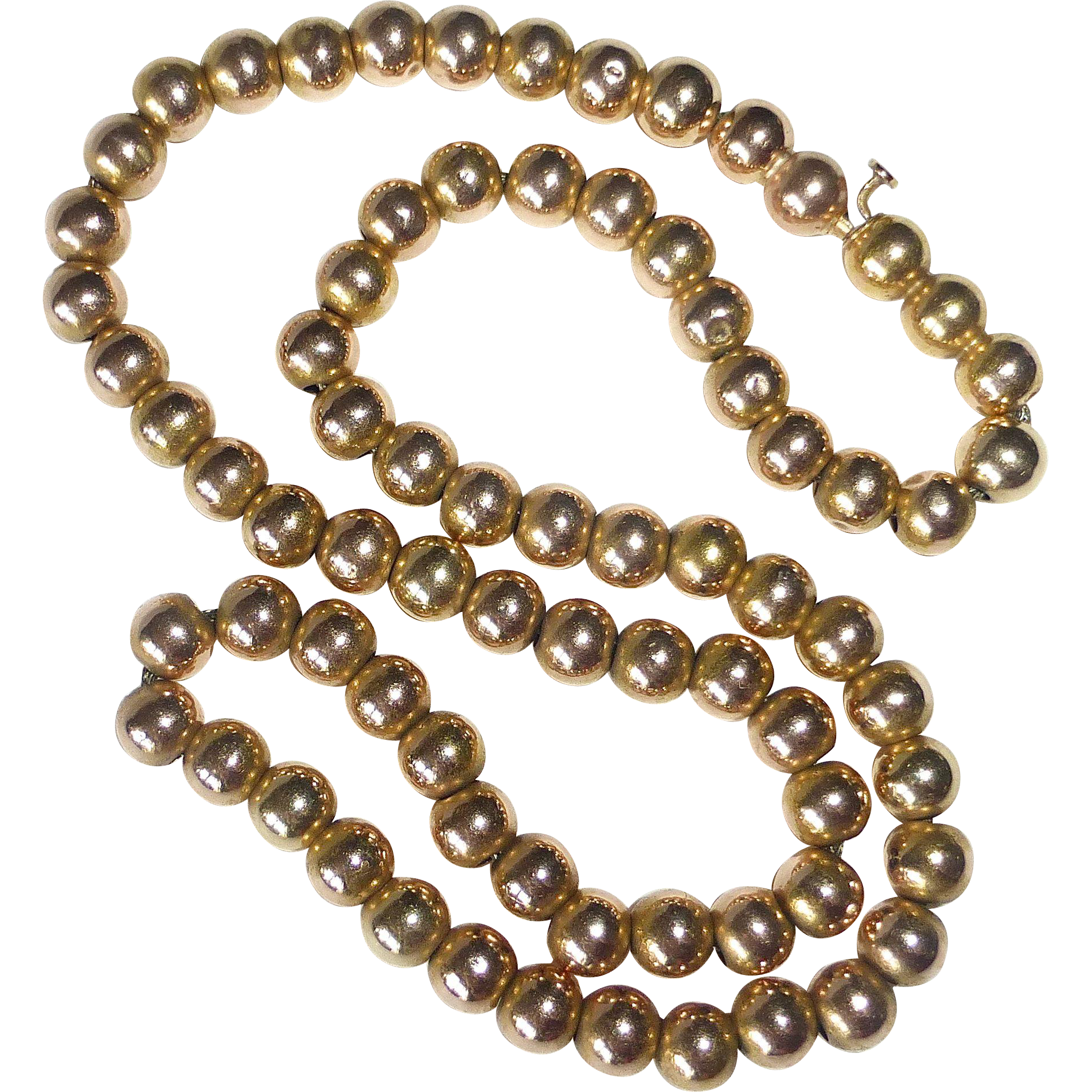 14k Antique Victorian Yellow Gold Bead Necklace