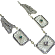 Art Deco 14k Filigree Frosted Crystal Necklace