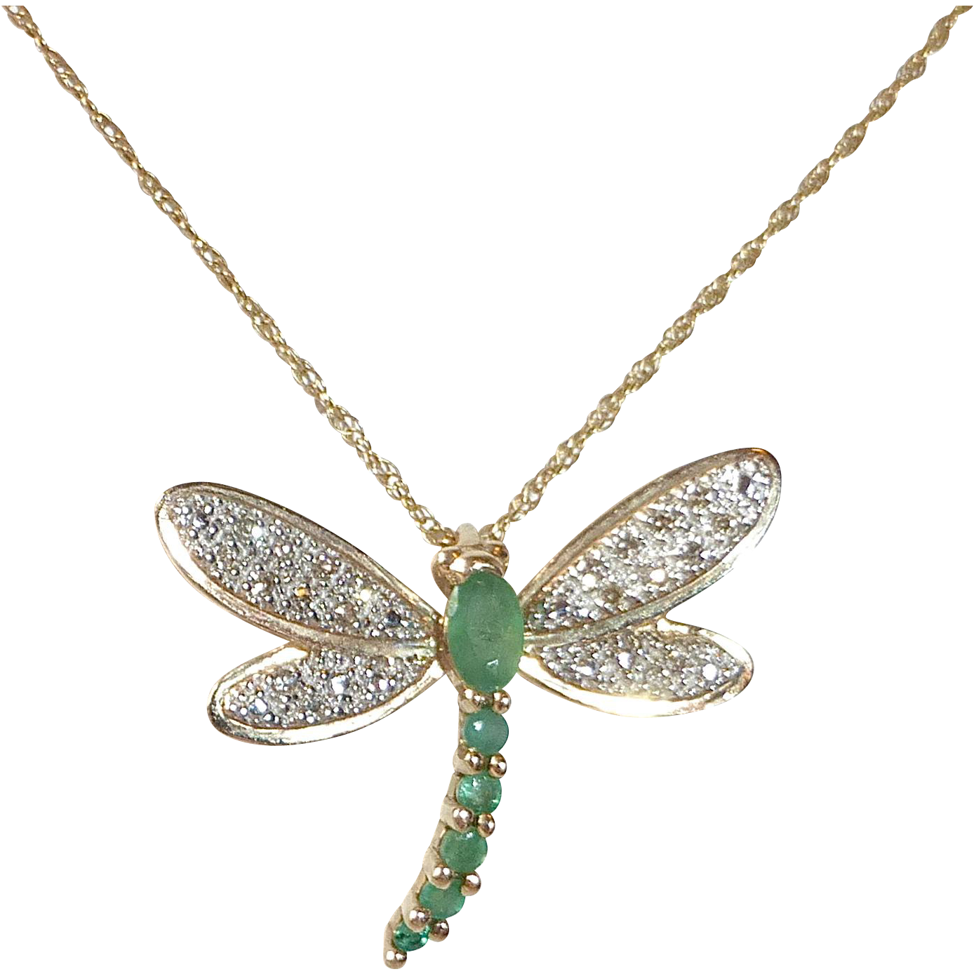 white yellow gold in dragonfly pendant necklace