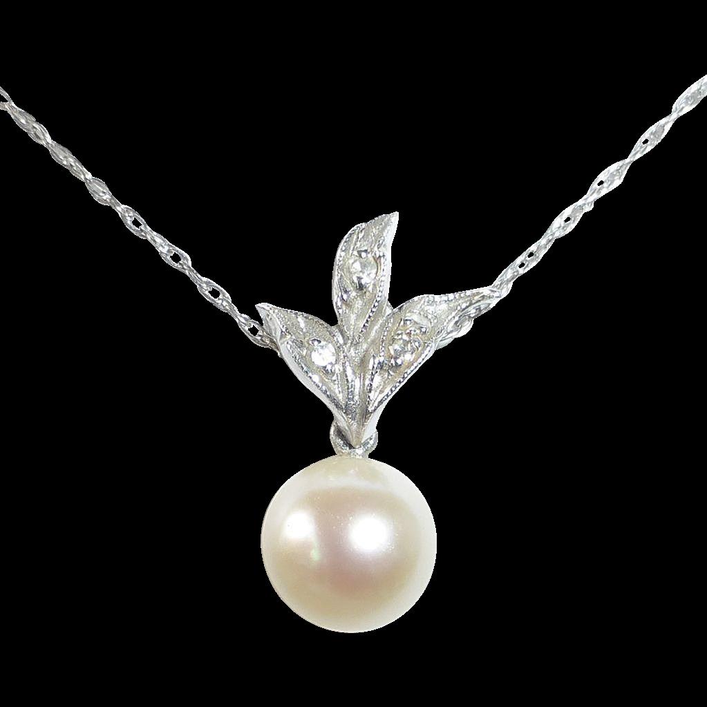 14k White Gold Pearl & Diamond Drop Pendant