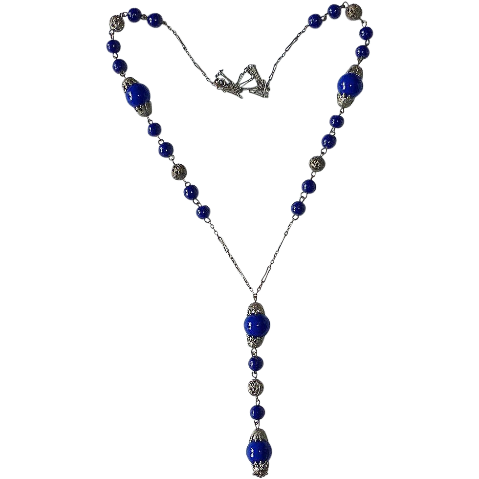 Art Deco Cobalt Glass Bead Czech Filigree Necklace