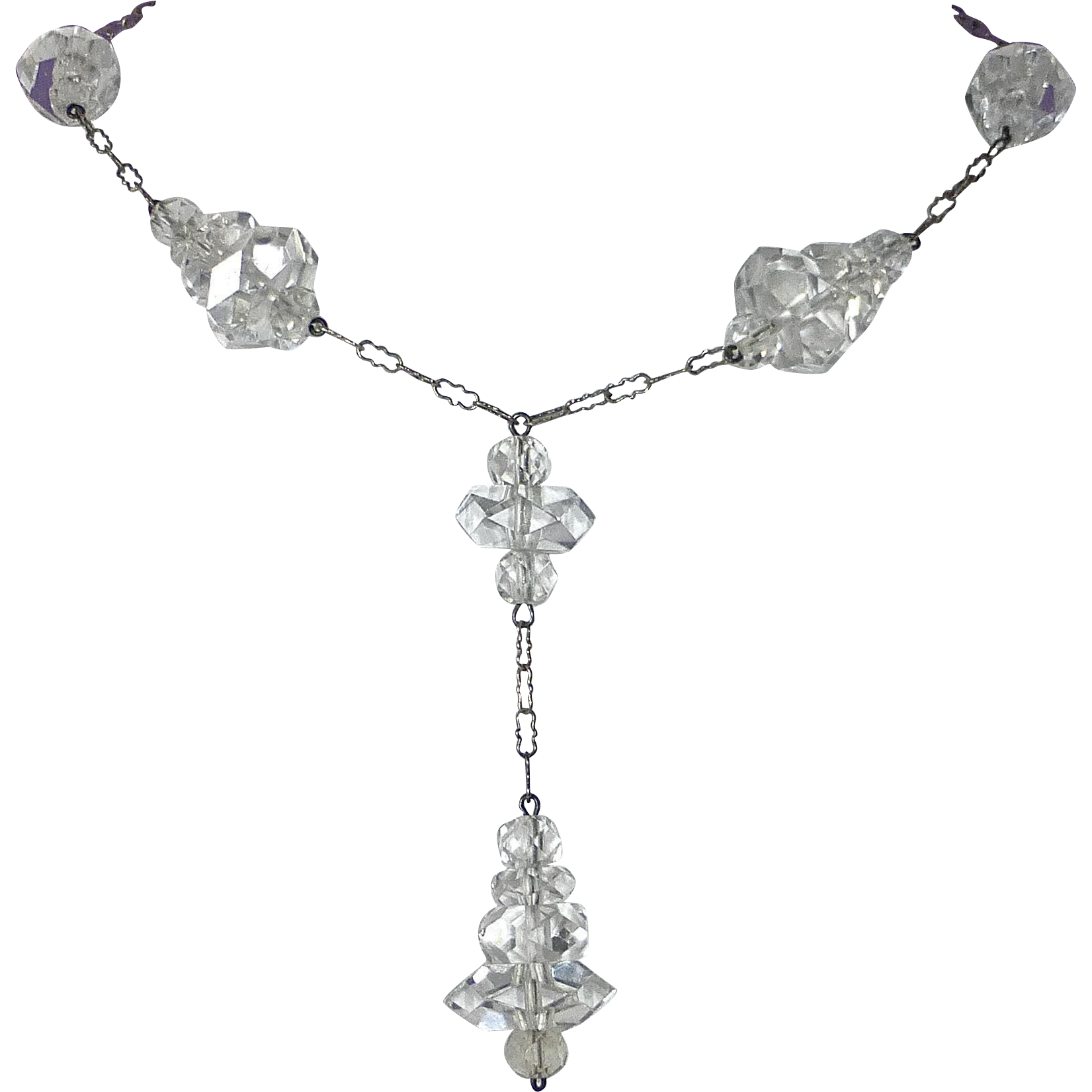 Art Deco Sparkling Crystal Drop Necklace Rhodium Plate