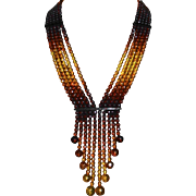 Extraordinary 5 Strand Graduated Color Amber Bead Necklace