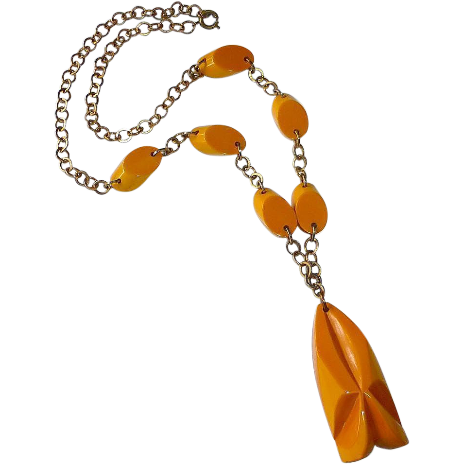 Carved Butterscotch Bakelite Pendant Necklace