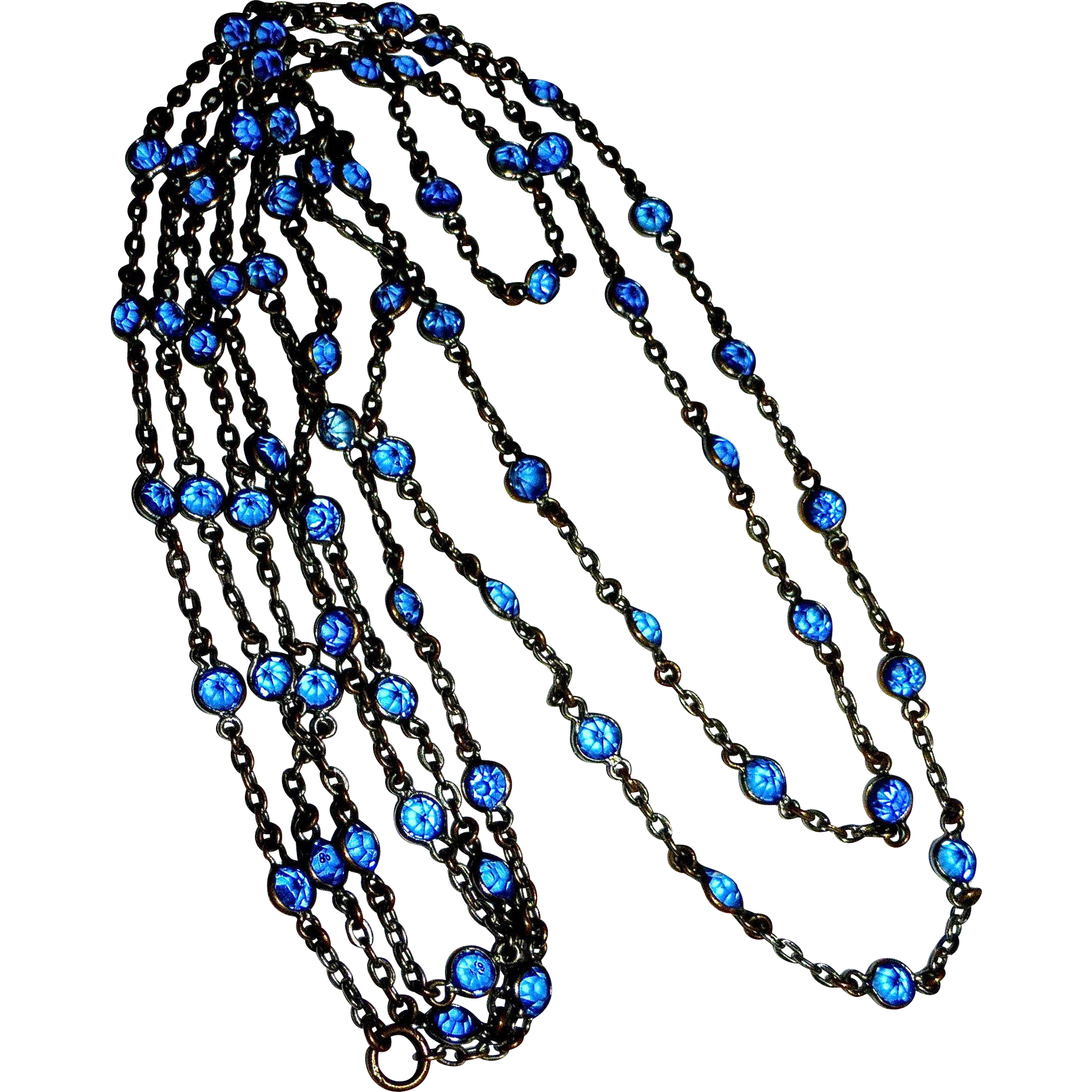 Blue Crystals XLong Chain Necklace