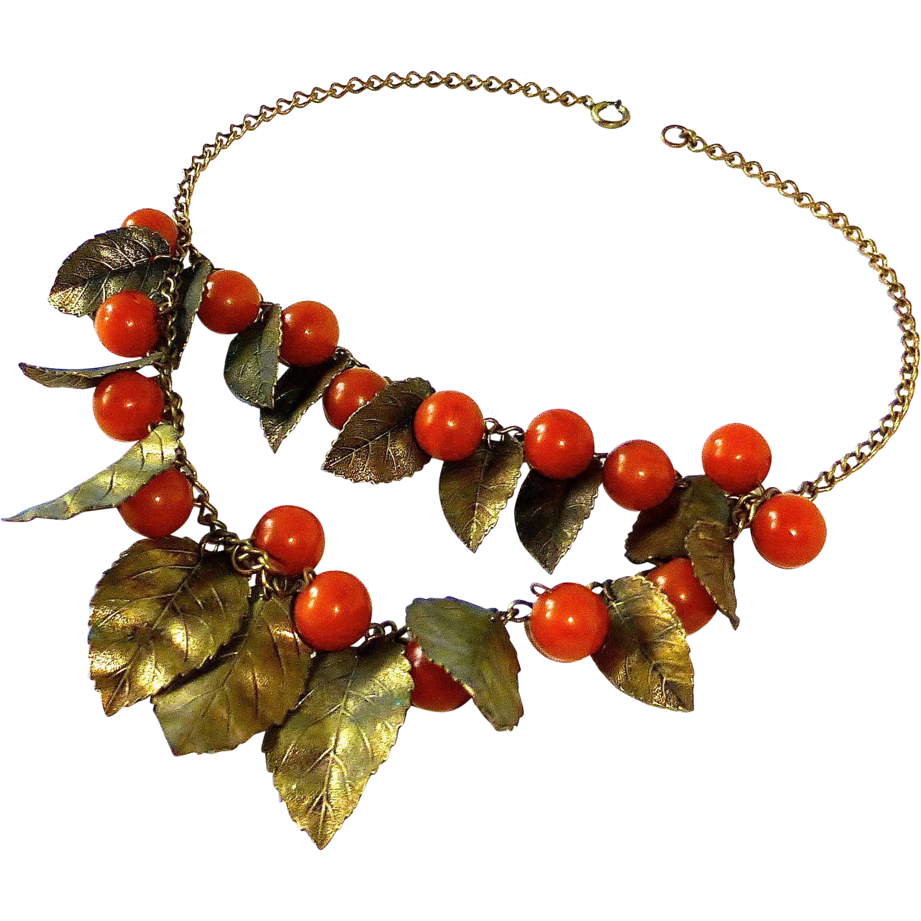 Bakelite Berries & Brass Leaves Double Tier Necklace
