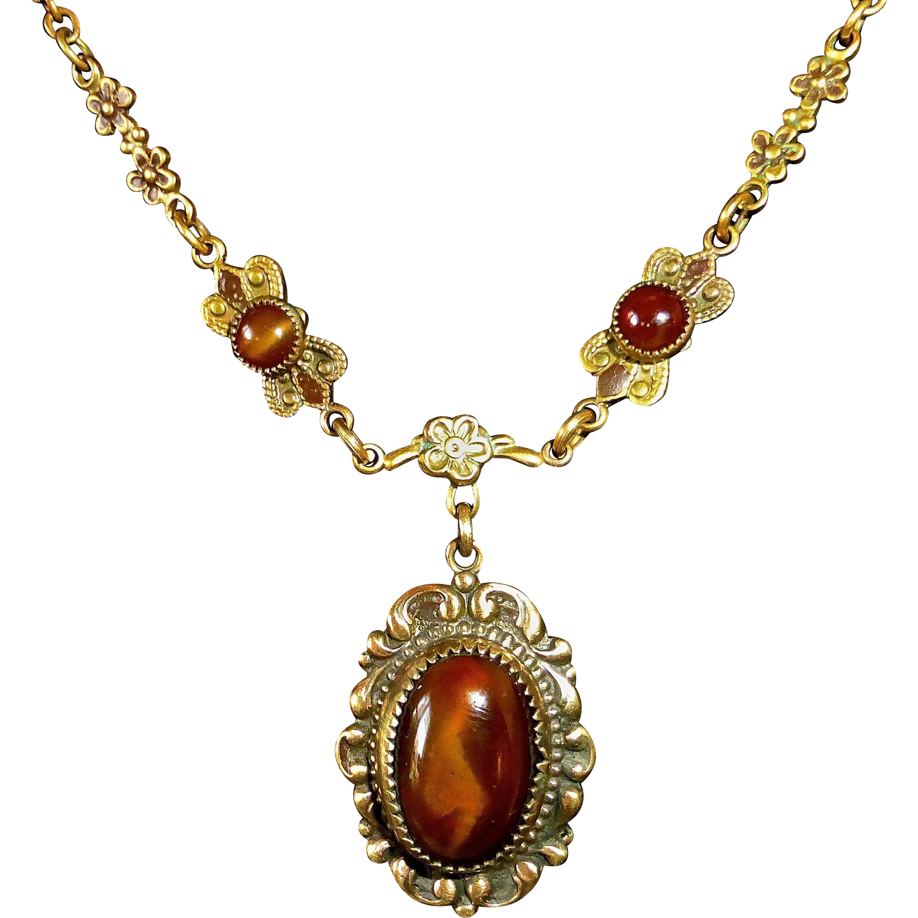 Art Deco Brass Pendant Necklace Chatoyant Brown Glass