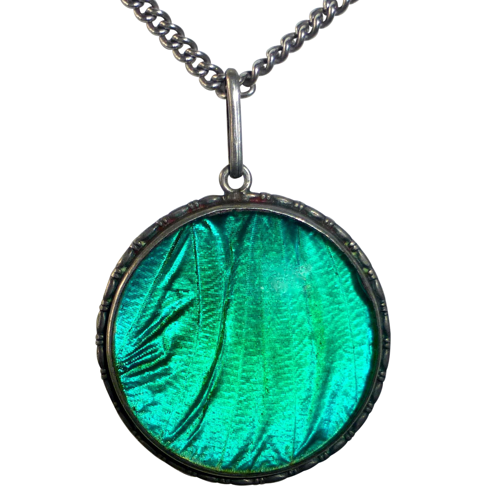Art Deco Sterling Double Sided Iridescent Morpho Butterfly Wing Pendant