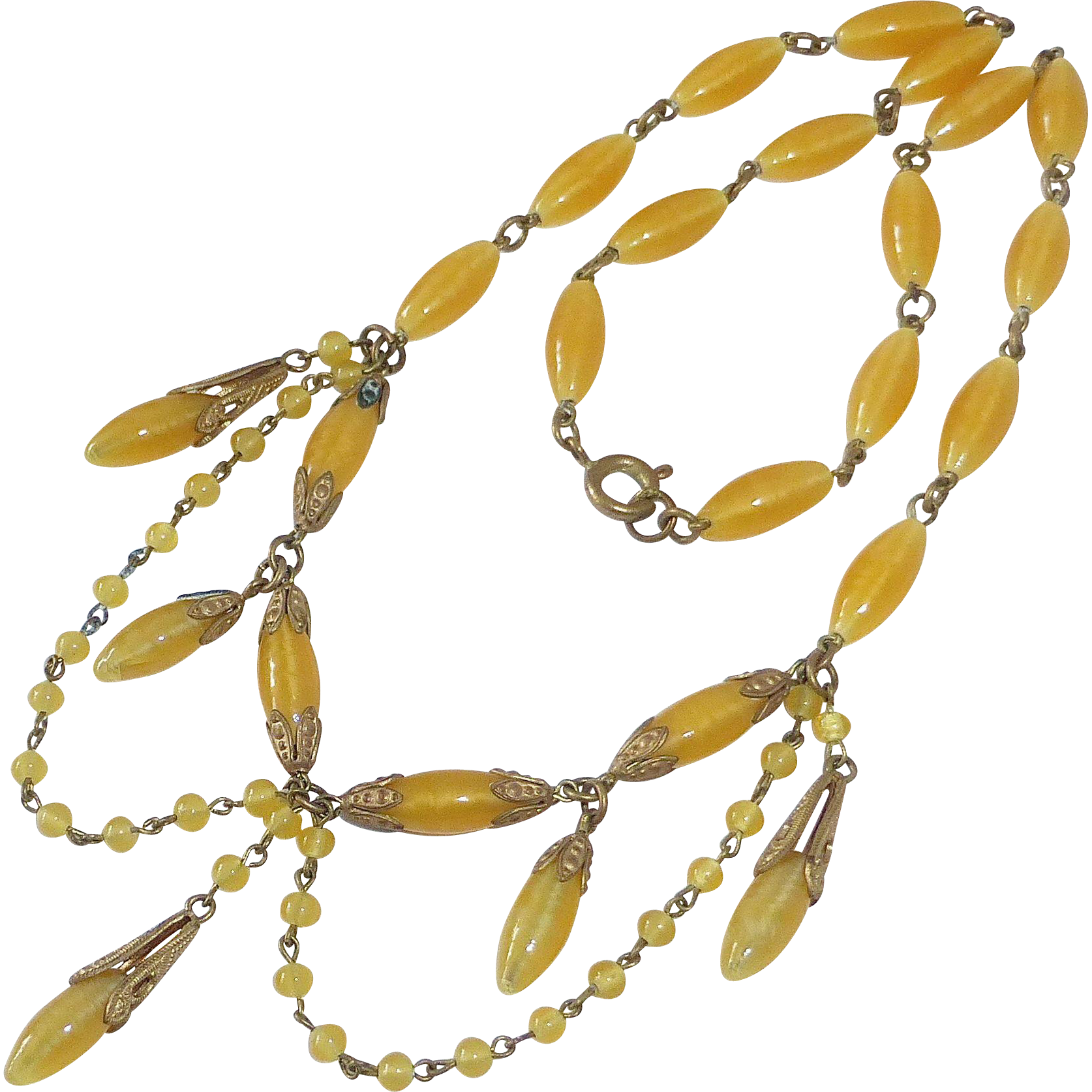 Pearly Yellow Glass Bead Festoon Necklace