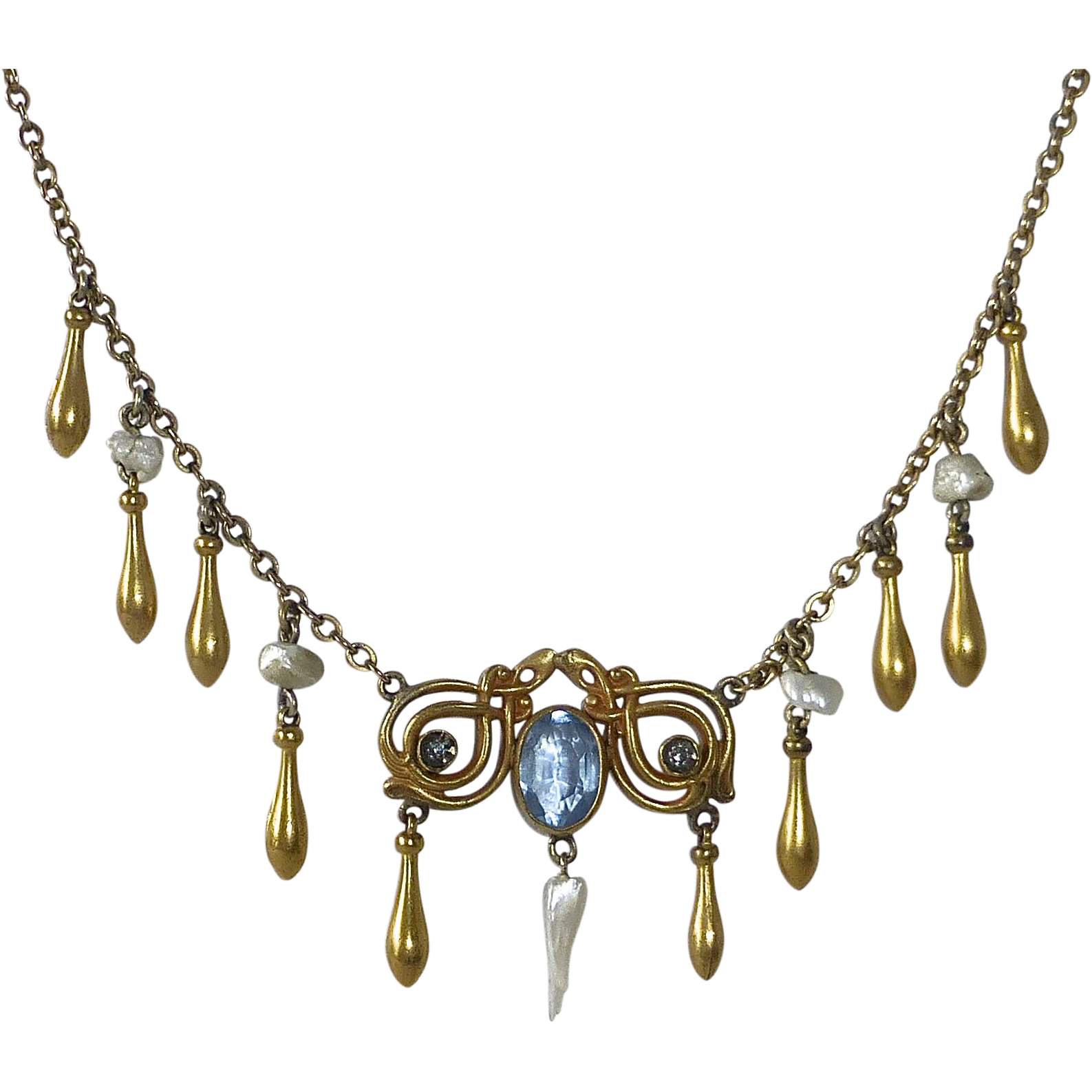 Edwardian Gold Filled Necklace FWP & Teardrops