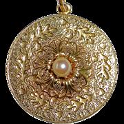 Gold Filled Pendant & Chain Oak Leaf Acorn Design Cultured Pearl