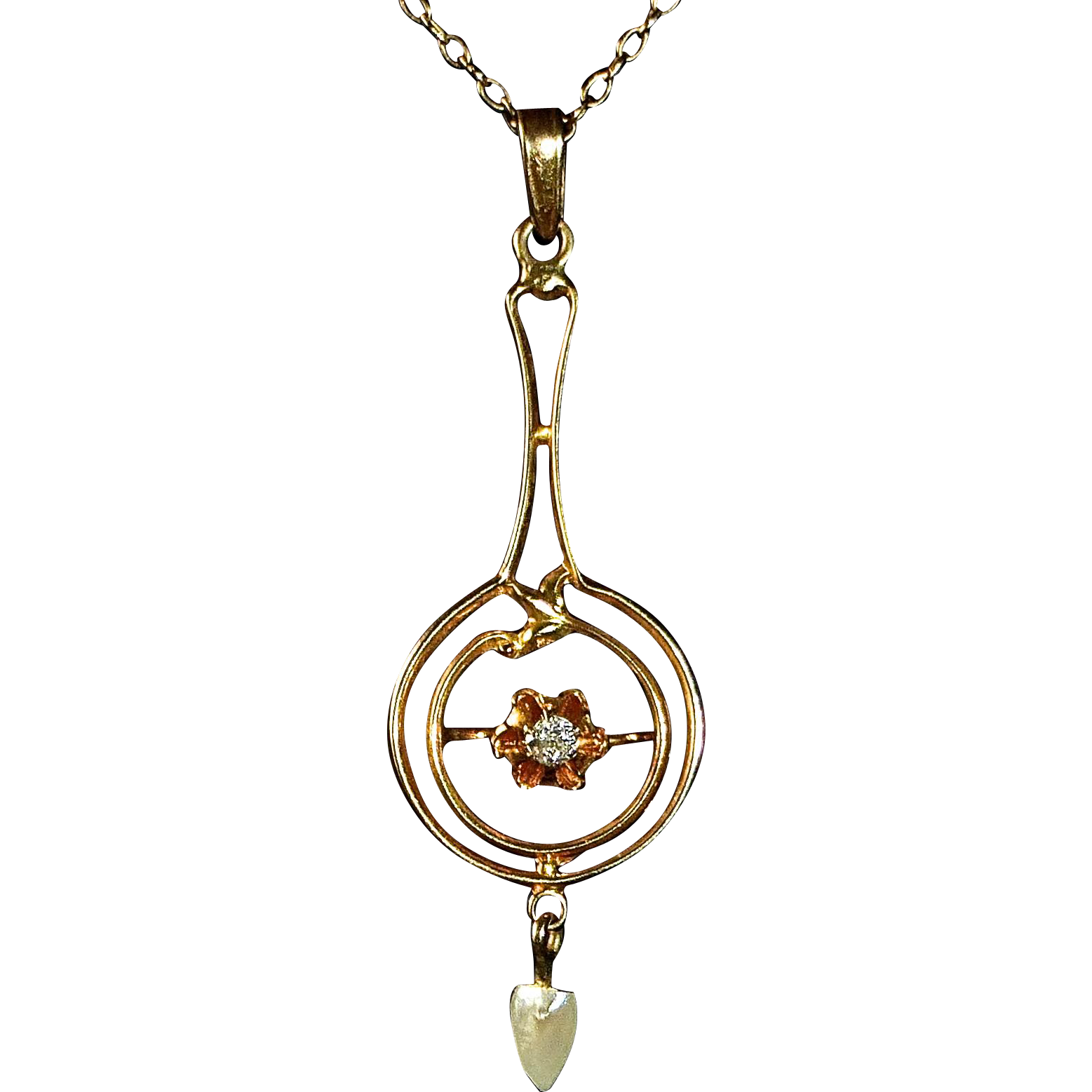 Art Deco 10k Lavaliere Pendant & Chain Diamond & FWPearl