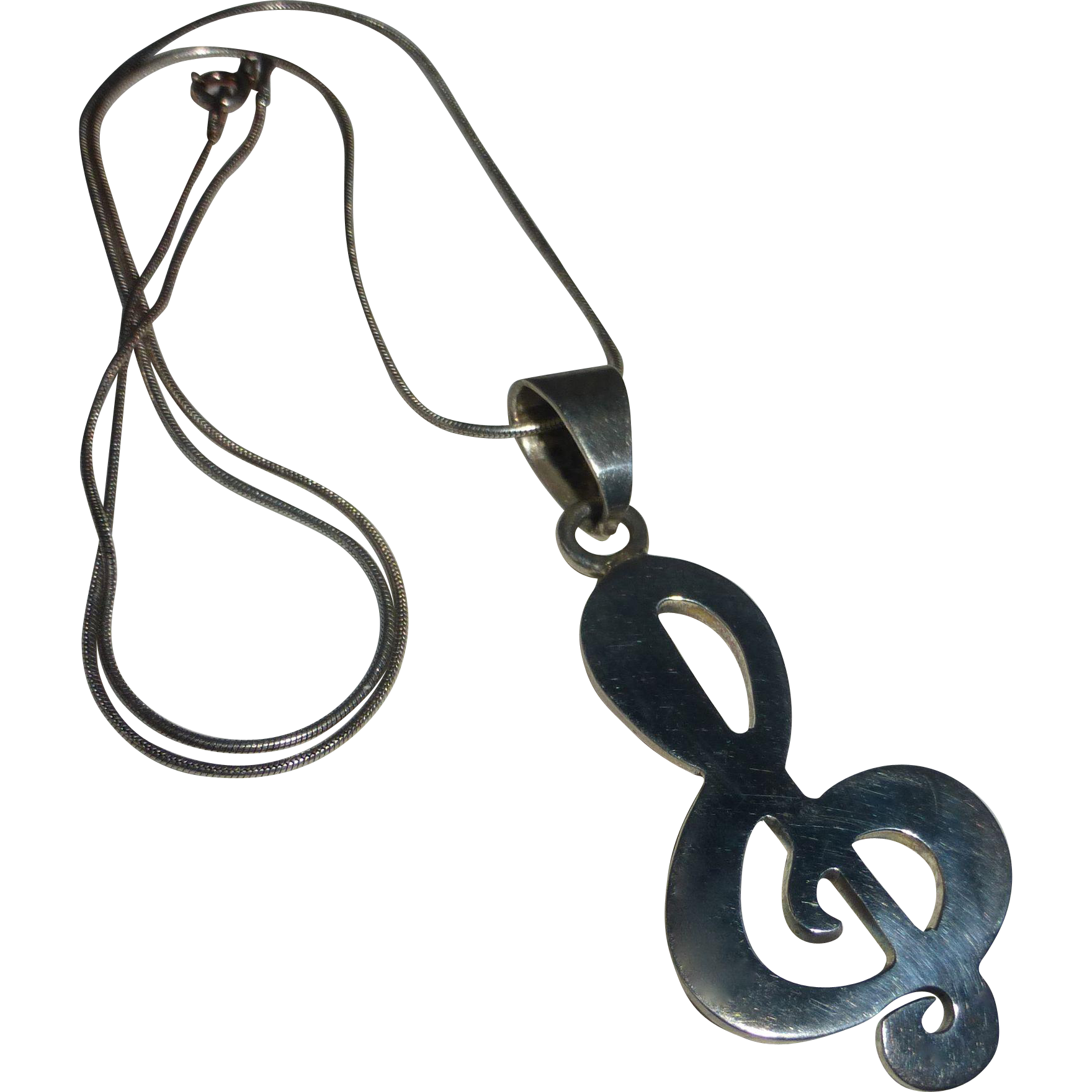 Sterling G Clef Pendant & Snake Chain