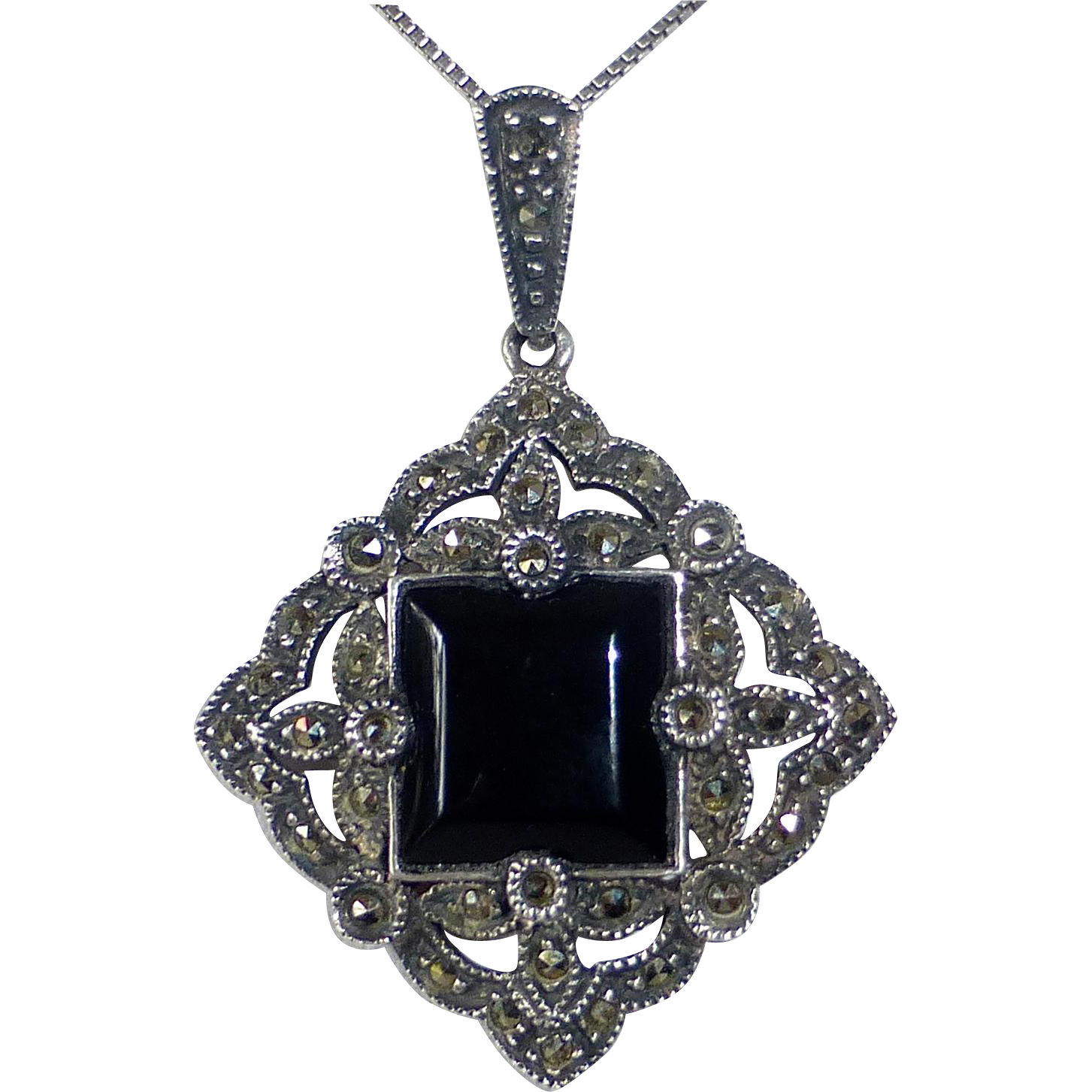 Victorian Revival Sterling Marcasite Onyx Judith Jack Necklace