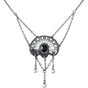 Art Deco Sterling Jugendstil Necklace Enamel Pearls Tourmaline