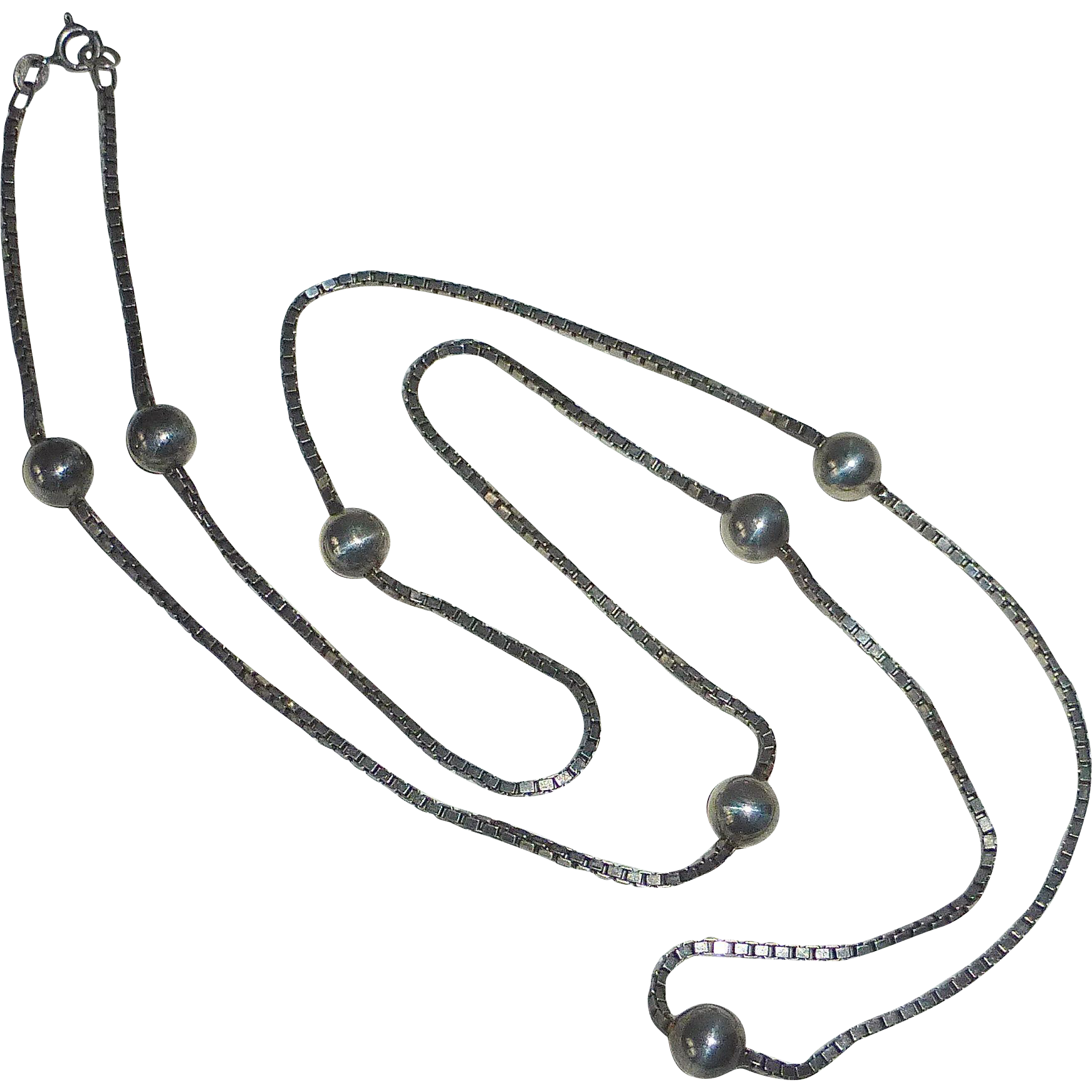 Sterling Silver Box Chain Necklace 7 Silver Beads