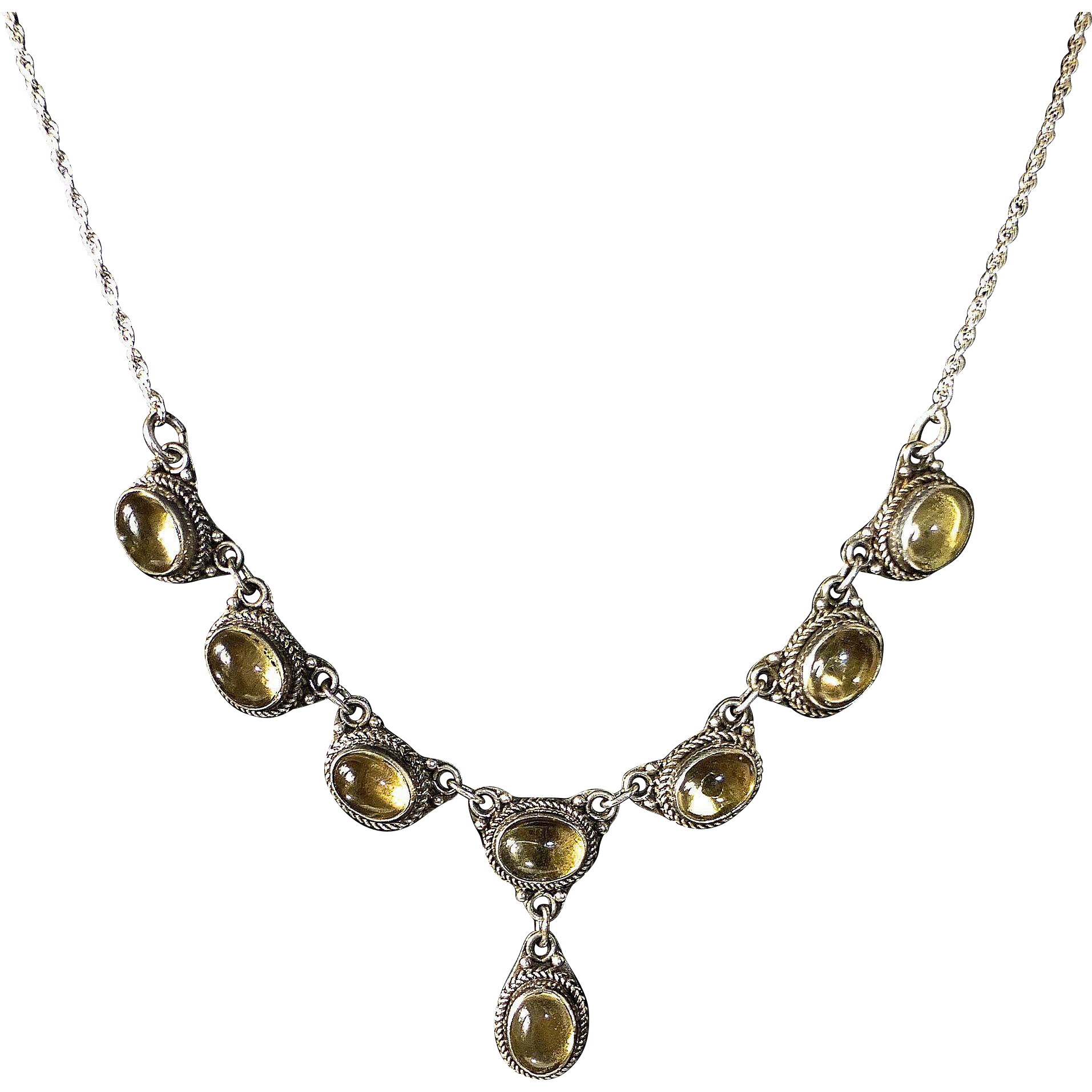 Sterling & Citrine Cabochon Drop Necklace