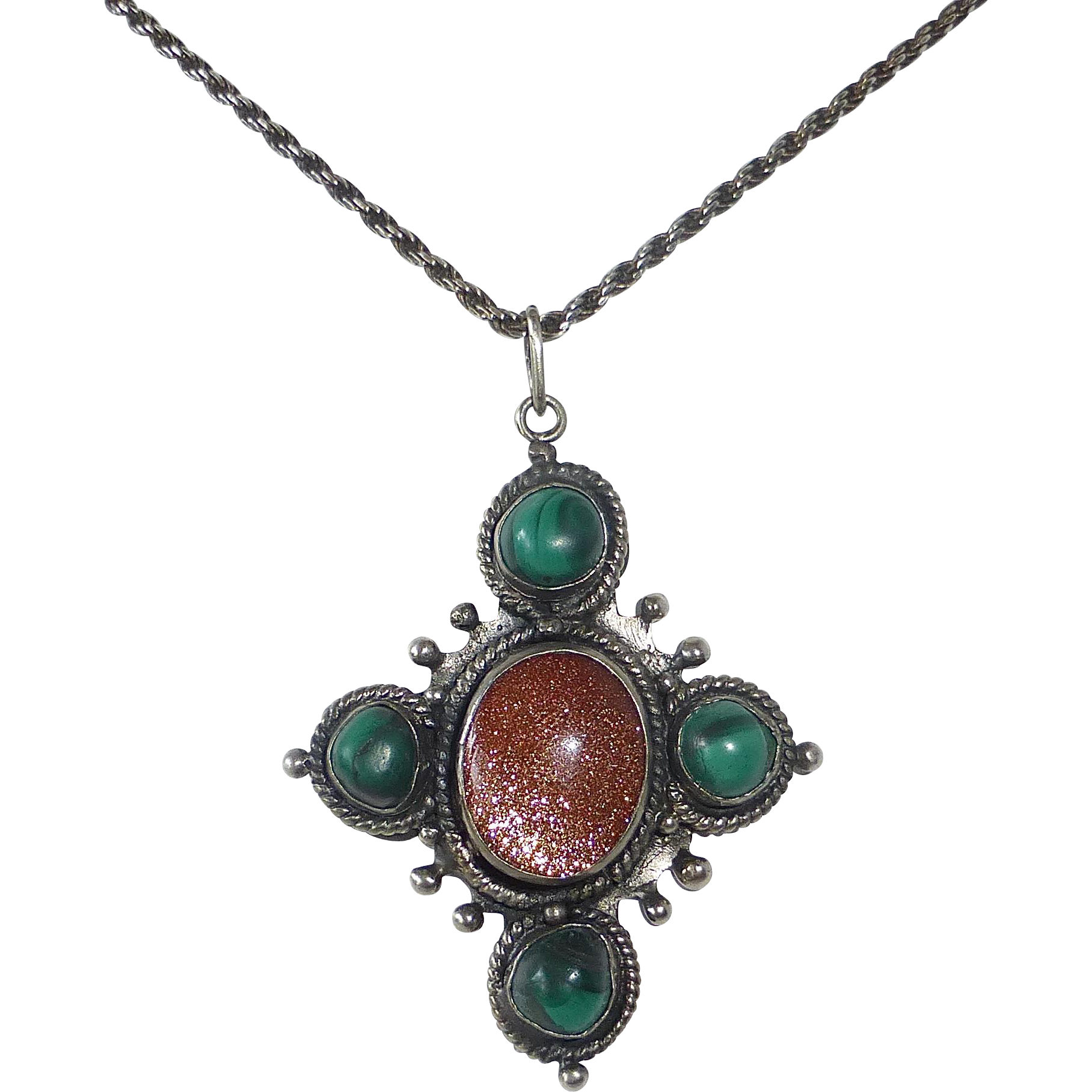 Handcrafted Sterling Pendant Necklace Malachite & Goldstone
