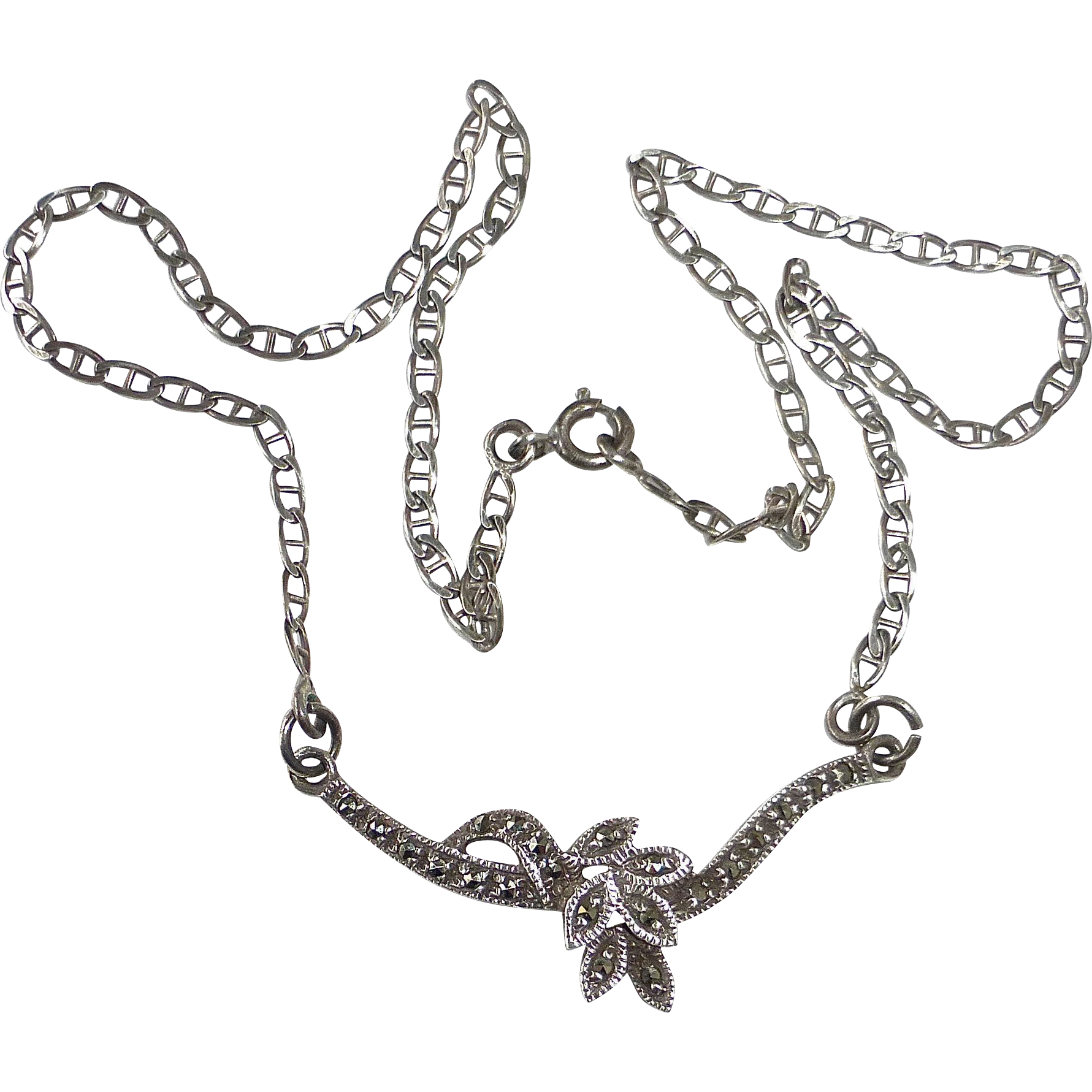 Sterling & Marcasite Simply Elegant Necklace