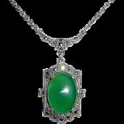 Art Deco Sterling Chrysoprase & Marcasite Necklace