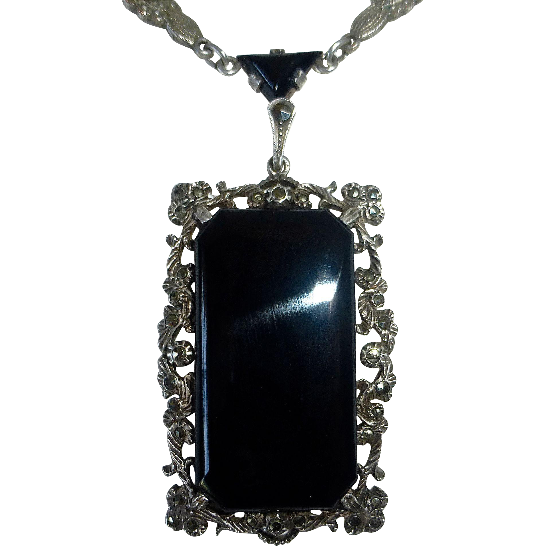 deco germany sterling marcasite onyx pendant necklace