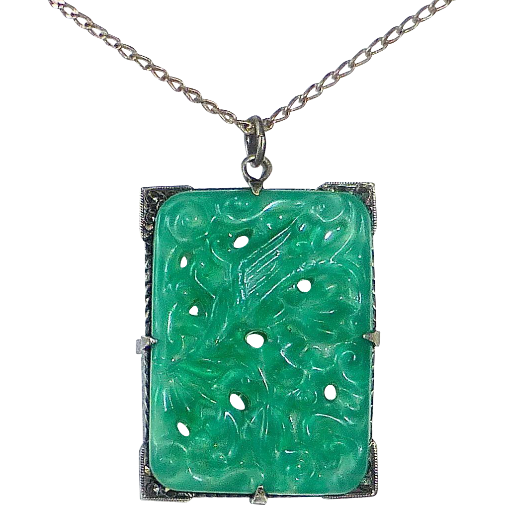 Art Deco Peking Glass Sterling Marcasite Pendant