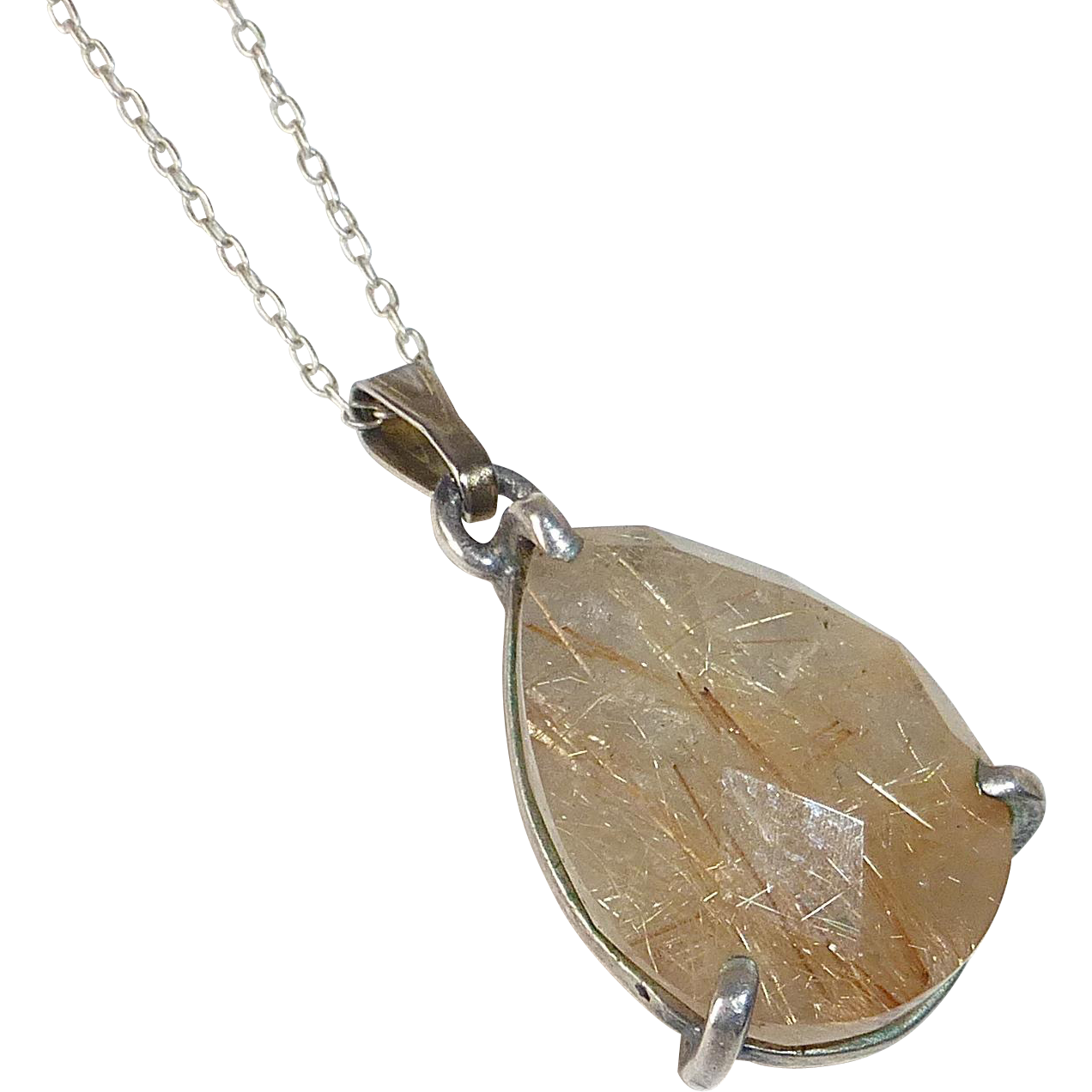 Sterling Silver Faceted Rutilated Quartz Teardrop Pendant
