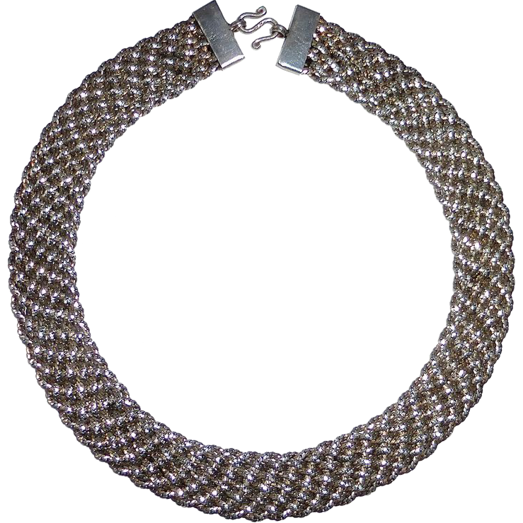 Sterling Wide Woven Chain Collar Necklace