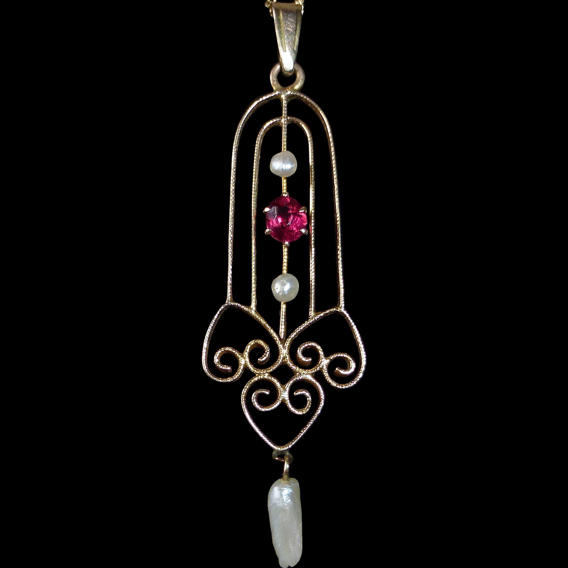 14k Edwardian Garnet & Seed Pearl Lavaliere Necklace