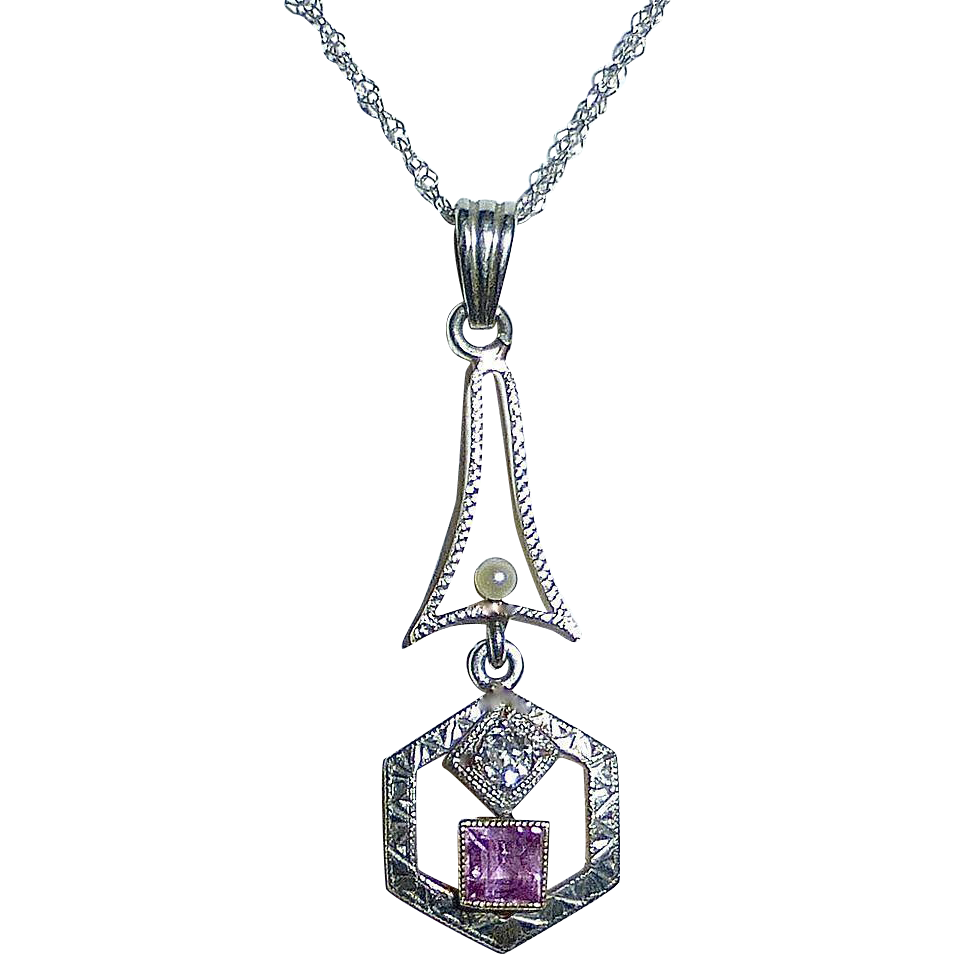Art Deco 14k White Gold Lavaliere Diamond & Pink Tourmaline