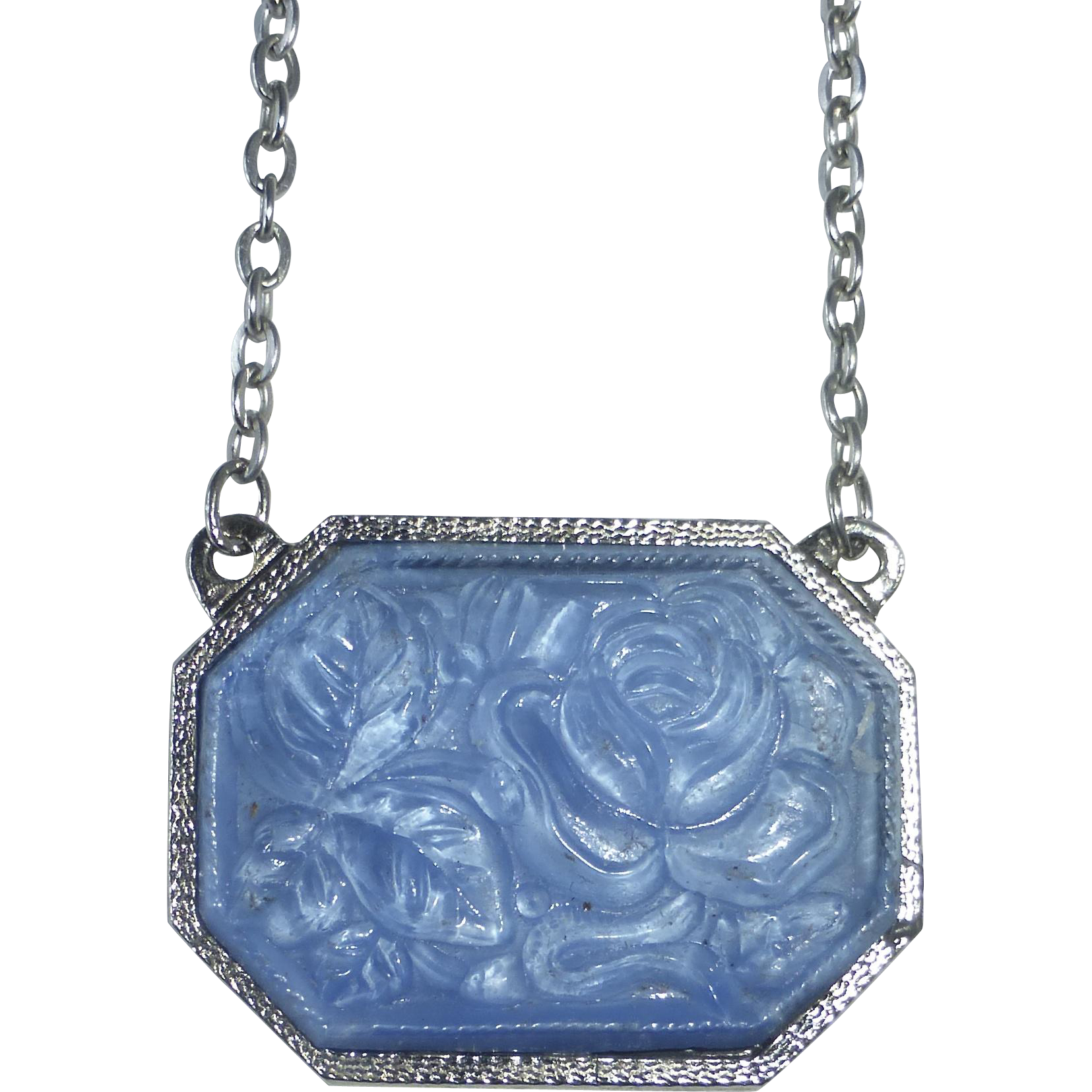 Silver Tone Pendant Necklace Molded Blue Art Glass Rose
