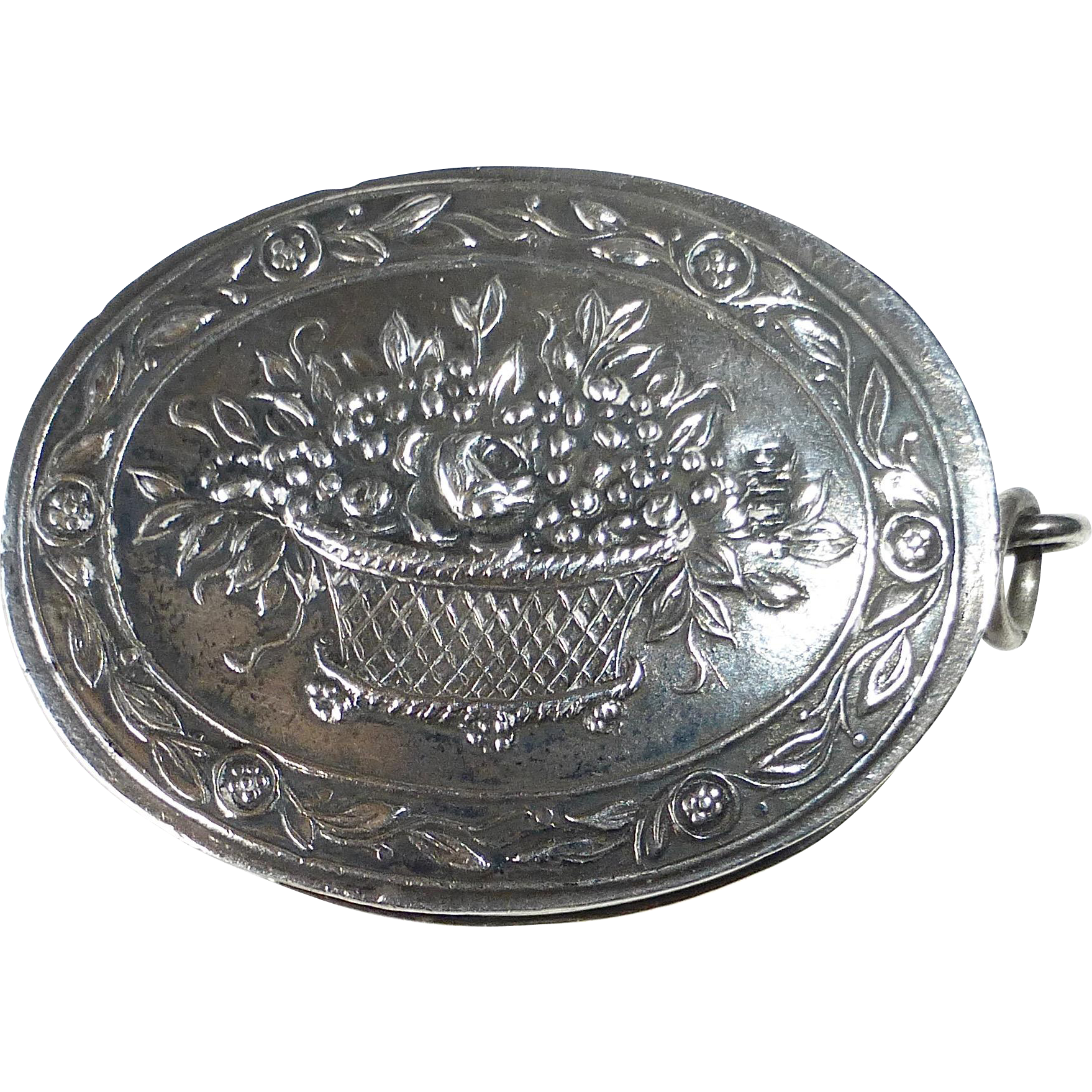 Sterling Chatelaine Oval Box Pendant Repousse Basket of Flowers