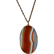 Victorian Striped Agate Double Sided Pendant Gold Filled Chain
