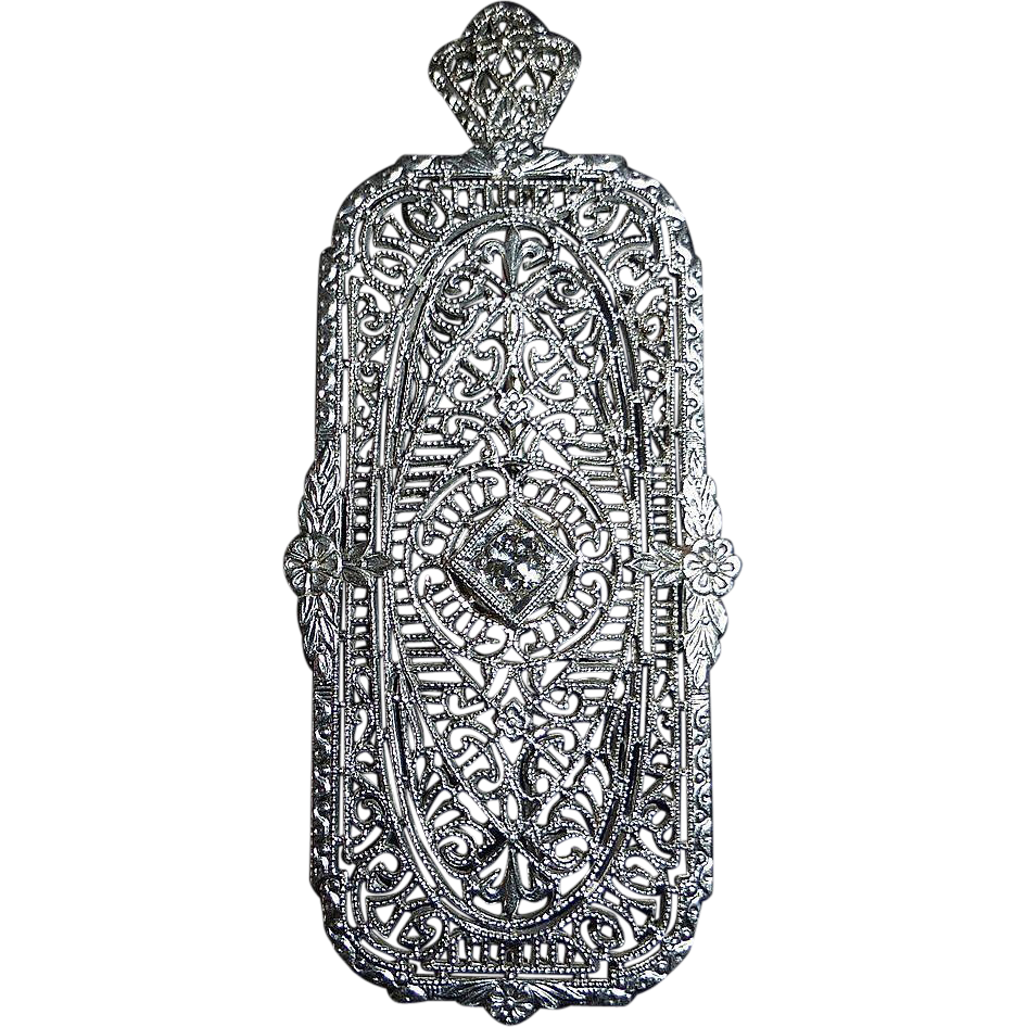 Art Deco Platinum & 14k Filigree Diamond Pendant / Pin