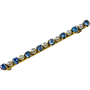 Edwardian Antique 10k Bar Pin Sapphires & Seed Pearls