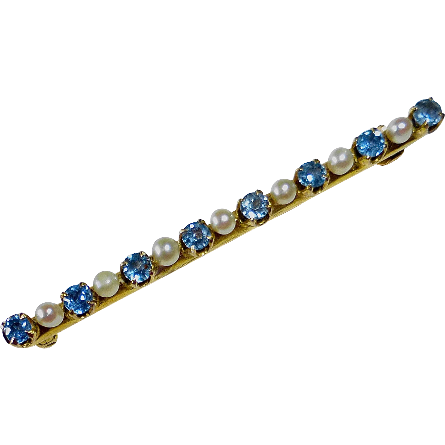 Edwardian Antique 10k Bar Pin Sapphires & Seed Pearls