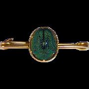 Victorian 10k Egyptian Revival Genuine Beetle Scarab Pin