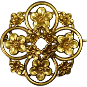 14k Victorian Floral Pin Forget-Me-Nots
