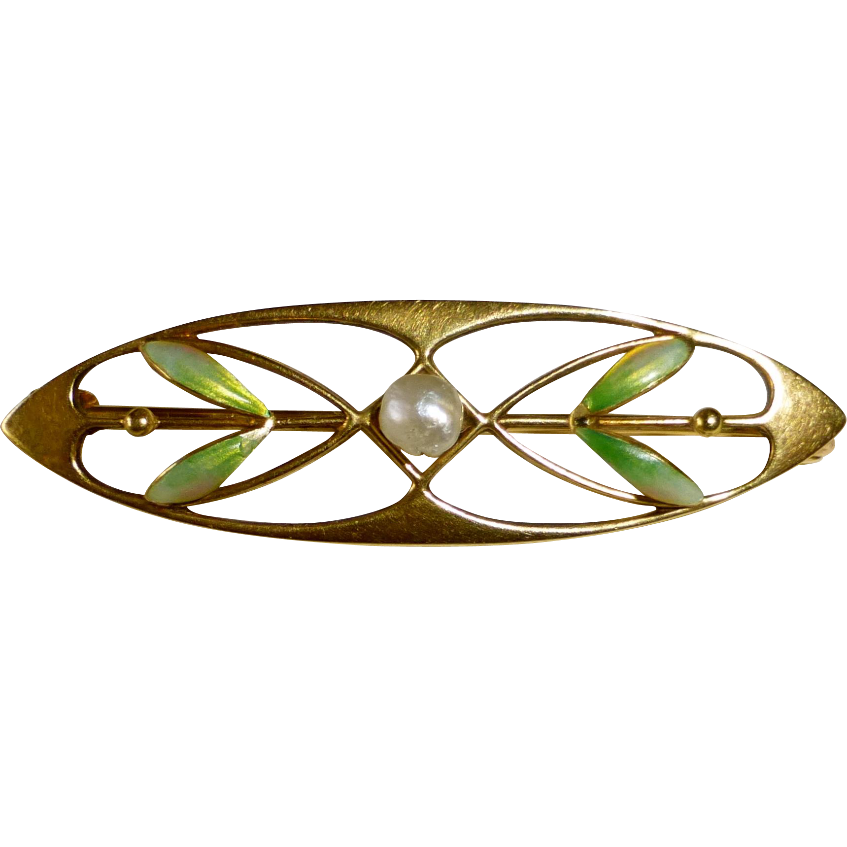 Antique 14k Art Nouveau Pin Iridescent Enamel
