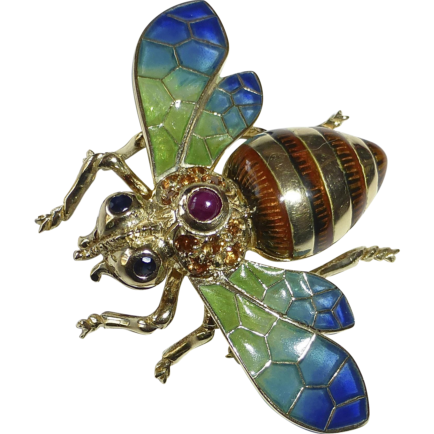 14k Gold Plique a Jour Enamel & Gemstone Bee Pin