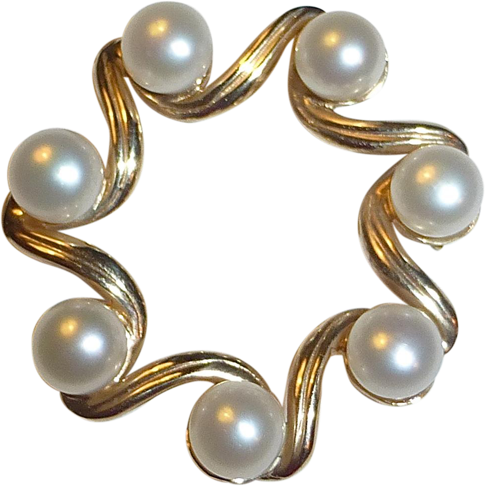 14k & Cultured Pearl Stylized Circle Pin